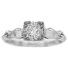 Art Deco .58 Carat Diamond Platinum Engagement Ring