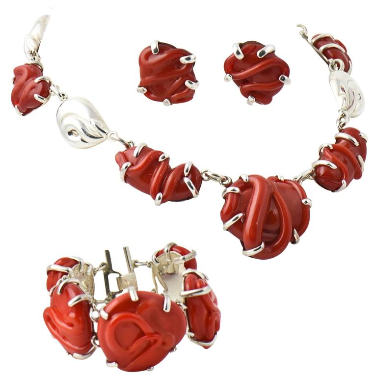 Coral Glass & Sterling Set - Earrings, Necklace & Bracelet by Marquita Masterson