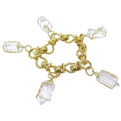 Verdura Rock Crystal Gold Herkimer Bracelet