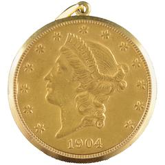 Eska $20 US Gold Liberty Hidden Pocket Watch