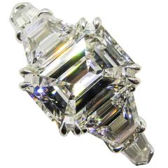 Leon Mege Emerald Cut Diamond Platinum Engagement Ring