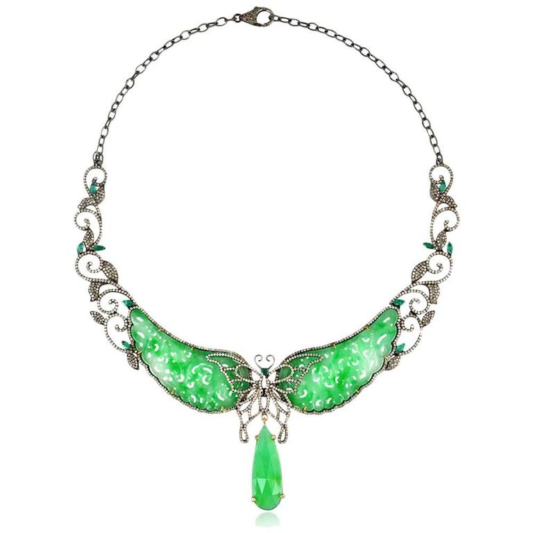 Jade Diamond Gold Butterfly Necklace  For Sale