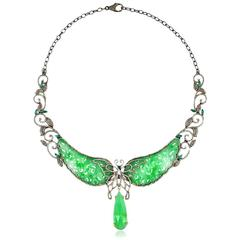 Jade Diamond Gold Butterfly Necklace