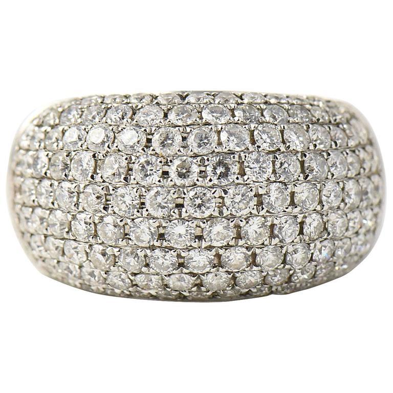 Pave Diamond Gold Bombe Ring