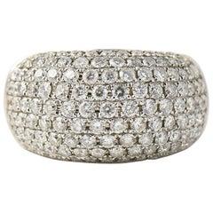 Pave Diamond White Gold Bombe Cocktail Ring