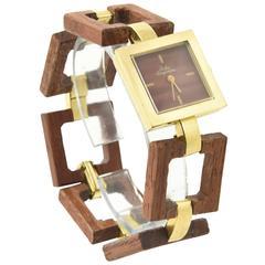 Jules Jurgensen Gold Plate Wood Wristwatch