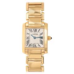 Cartier Ladies Yellow Gold Tank Francaise Quartz Wristwatch