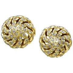 Sterle Paris Diamond Gold Swirl Earclips