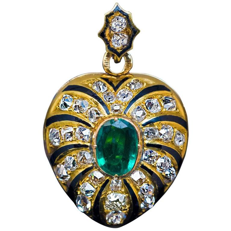 Antique Enamel Emerald Diamond Gold Heart Shaped Locket Pendant 1