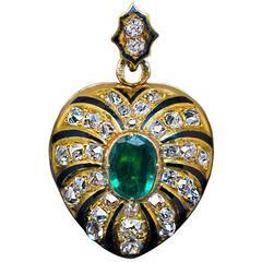 Antique Enamel Emerald Diamond Gold Heart Shaped Locket Pendant