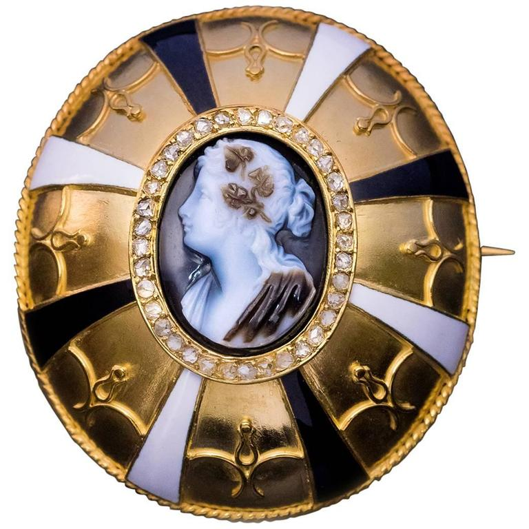 Antique Victorian Agate Cameo Enamel Diamond Gold Brooch