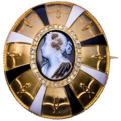 Antique Victorian Agate Cameo Enamel Diamond Gold Brooch