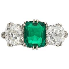 Natural Unenhanced Colombian Emerald and Diamond Three-Stone Ring, circa 1910