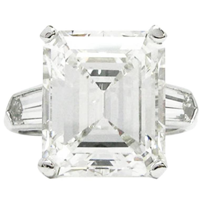 11.19 Carat GIA Emerald Cut Diamond Platinum Ring by J. Birnbach