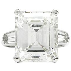 11.19 Carat GIA Emerald Cut Diamond Platinum Ring by J. Birnbach