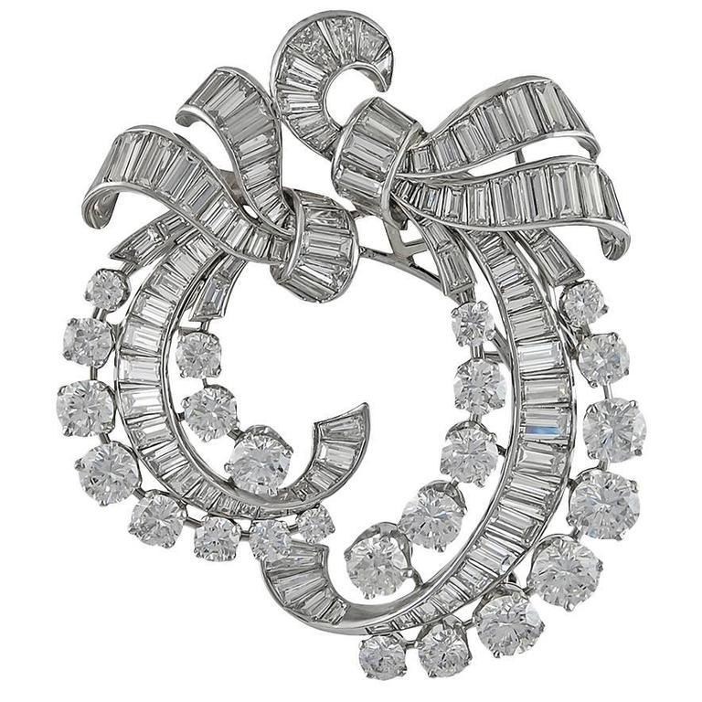 Van Cleef & Arpels Diamond Platinum Double-Clip Brooch