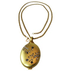 Beautiful Vintage 18K Yellow Gold Diamond and Sapphire Locket and Vintage Chain