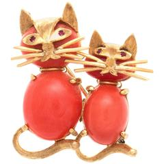 Coral Gold Cats Brooch