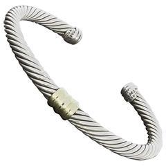 David Yurman Silver Gold Cable Classics Station Cuff Bracelet