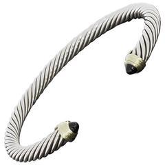 David Yurman Black Onyx Silver Gold Cable Classics Cuff Bracelet
