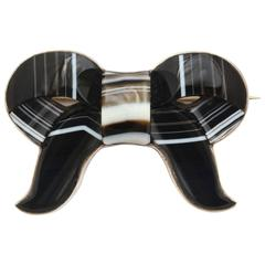Scottish Banded Agate Ribbon Brooch