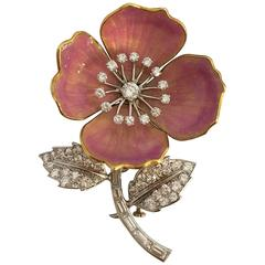 "Boucheron Enamel Diamond Gold Platinum ""Eglantine"" Flower Brooch"
