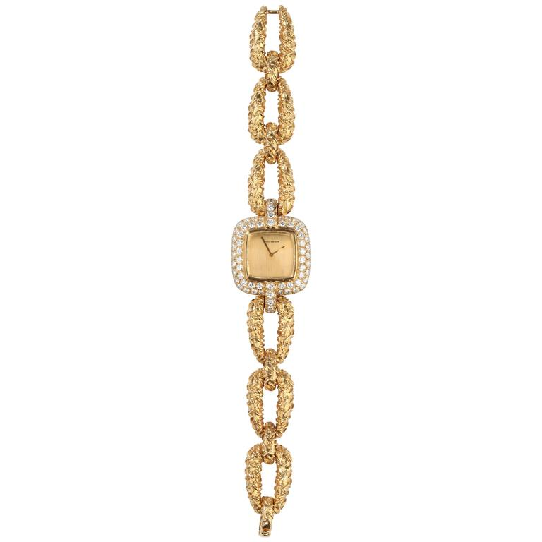 1960s Boucheron Paris Ladies Yellow Gold Diamond Wristwatch