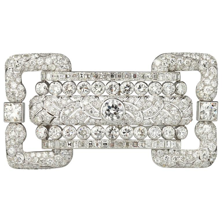 Art Deco French Large Diamond Platinum Brooch