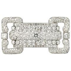 Art Deco French Large Diamond Platinum Brooch