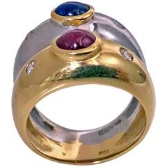 1970s Ming's Sapphire Ruby Diamond Two Color Gold Double Band Ring