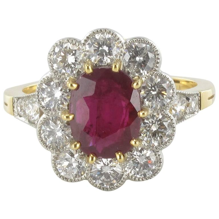 French 2.09 carat Ruby Diamond Gold Platinum Ring