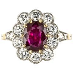 French 2.09 Carat Ruby Diamond Gold Platinum Ring