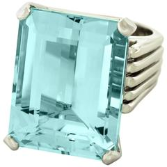 Huge 1950s Moderne 40 Carat Aquamarine Set Gold Ring