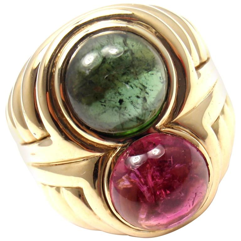 Bulgari Pink and Green Tourmaline Gold Ring
