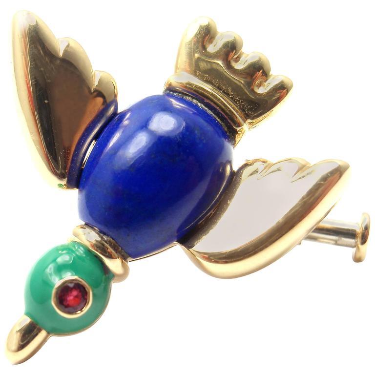 Cartier Lapis Lazuli Ruby Gold Bird Brooch Pin