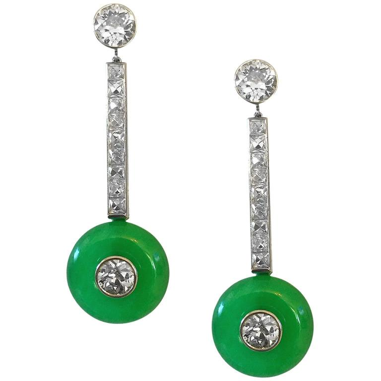 Elegant 1950s 6 Carat Jade Diamond Platinum Earrings 2