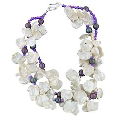 Keshi Pearls and Lavender Pearls Necklace