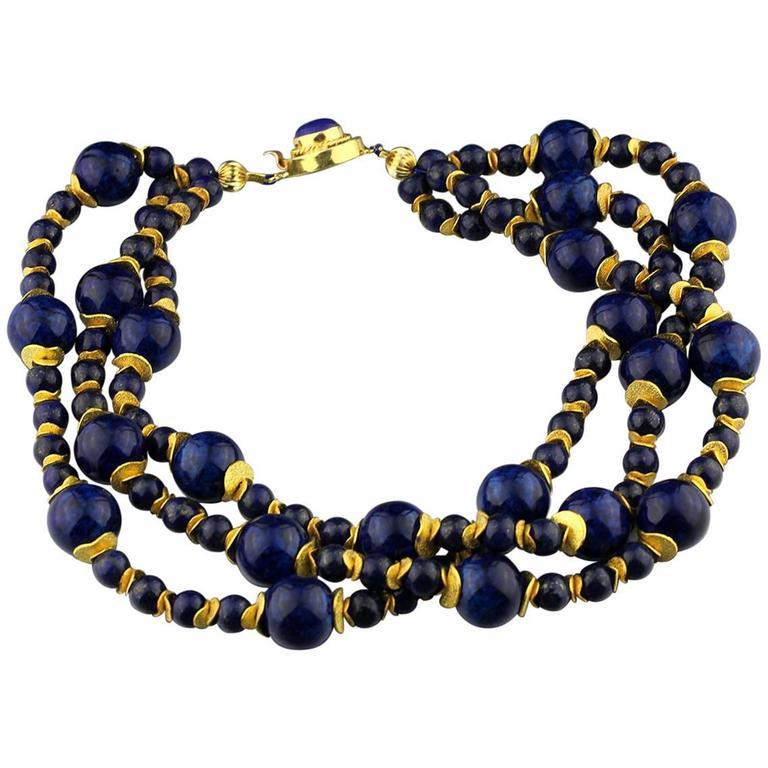 Lapis Lazuli Blue Coral Necklace For Sale