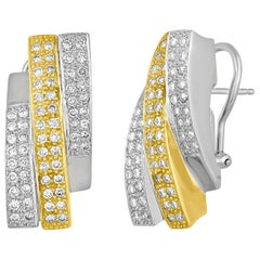 2.50 Carats Abstract Diamond Two Tone Gold Earrings