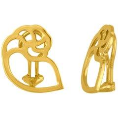 Etienne Perret Gold Seashell Clip Earrings