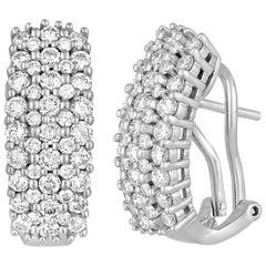 2.00 Carats Diamond Half Huggie Hoop Gold Earrings