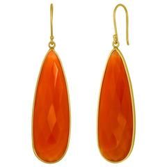 Long Carnelian Tear Drop Dangle Gold Earrings