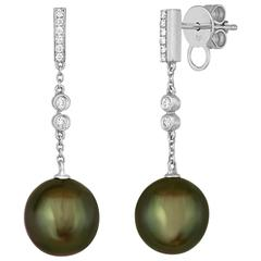 9.6MM Tahitian Peacock Cultured Pearls And Diamond Gold Dangle Earrings