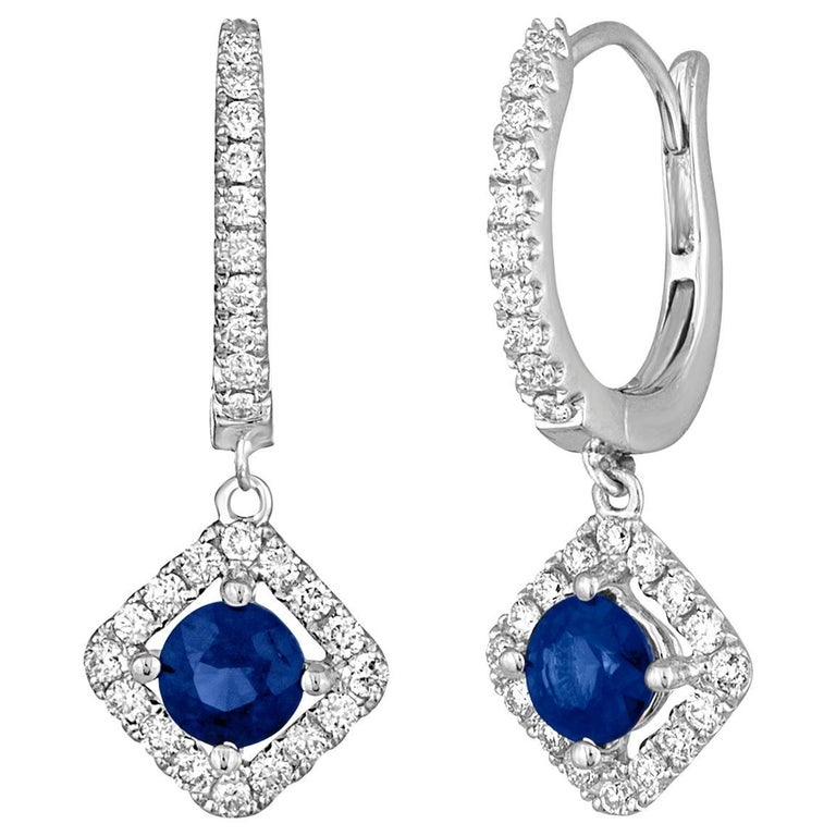 0.95 Carats Sapphire And Diamond Gold Dangle Earrings For Sale
