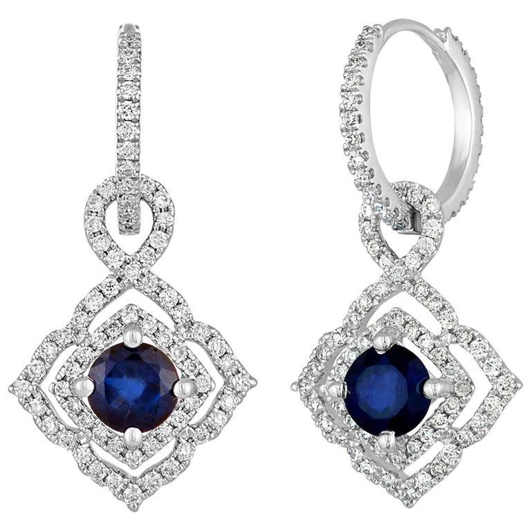 1.47 Carats Sapphire Diamond Gold Dangle Earrings