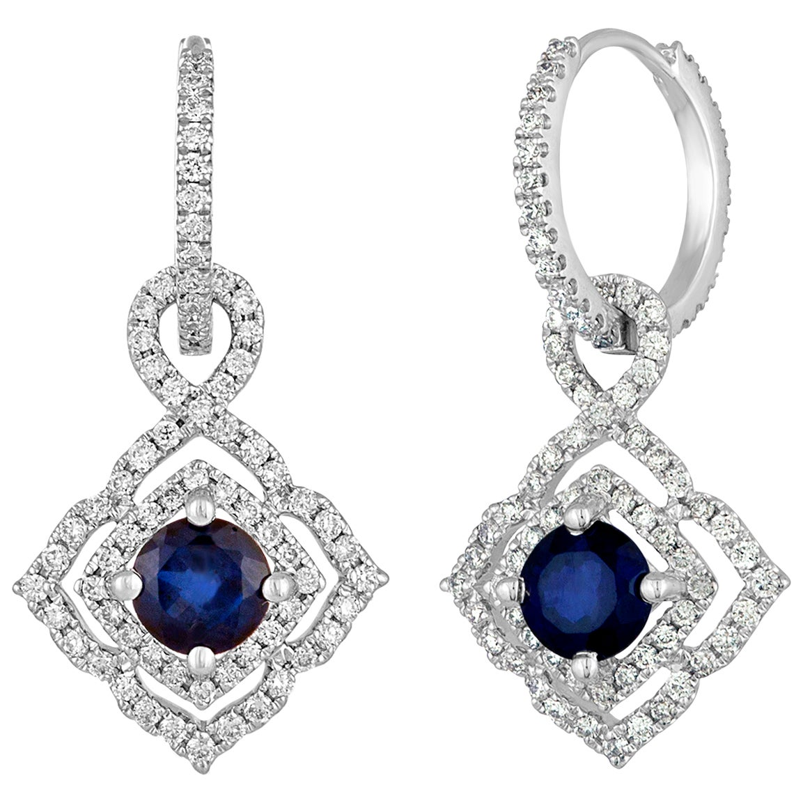 1.47 Carats Sapphire Diamond Gold Dangle Earrings