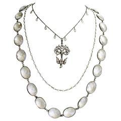Rock Crystal Pearls White Topaz Antique Paste Saint Esprit Dove Pendant