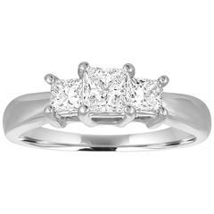1.02 Carats Princess Cut Diamond Gold Three Stone Ring