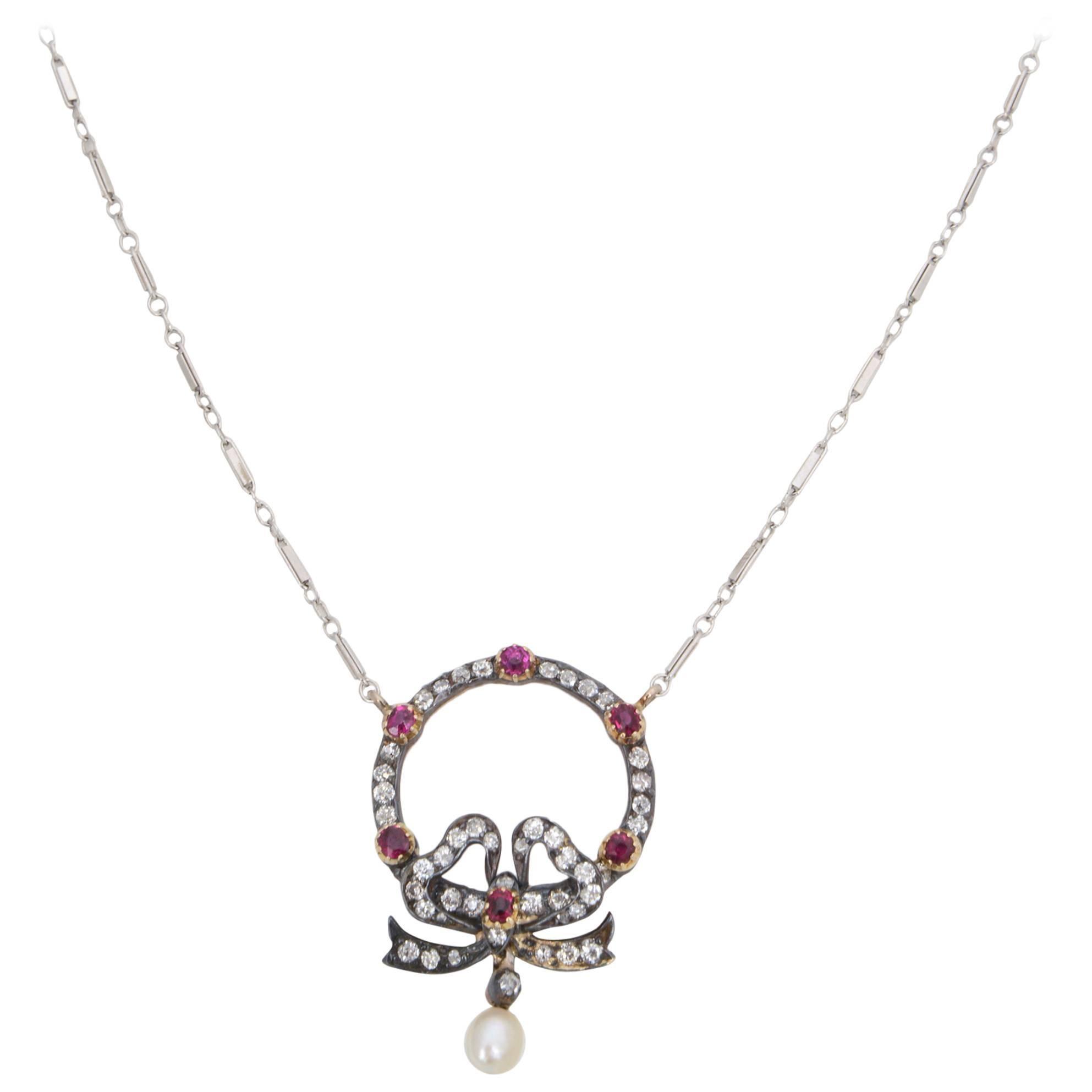 Edwardian Belle Époque Ruby Diamond Bow Necklace