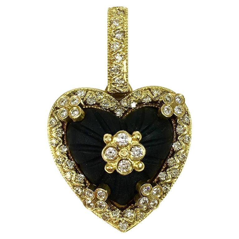 Stambolian Frosted Onyx Diamond Gold Heart Enhancer